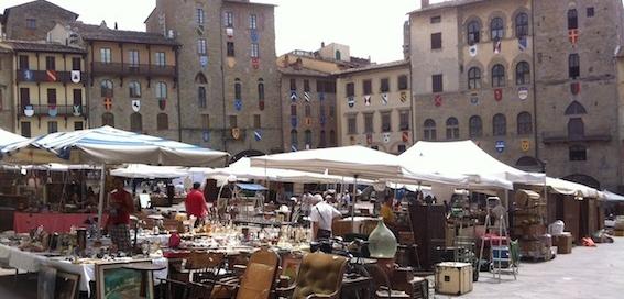 Arezzo antique market Piazza Grande